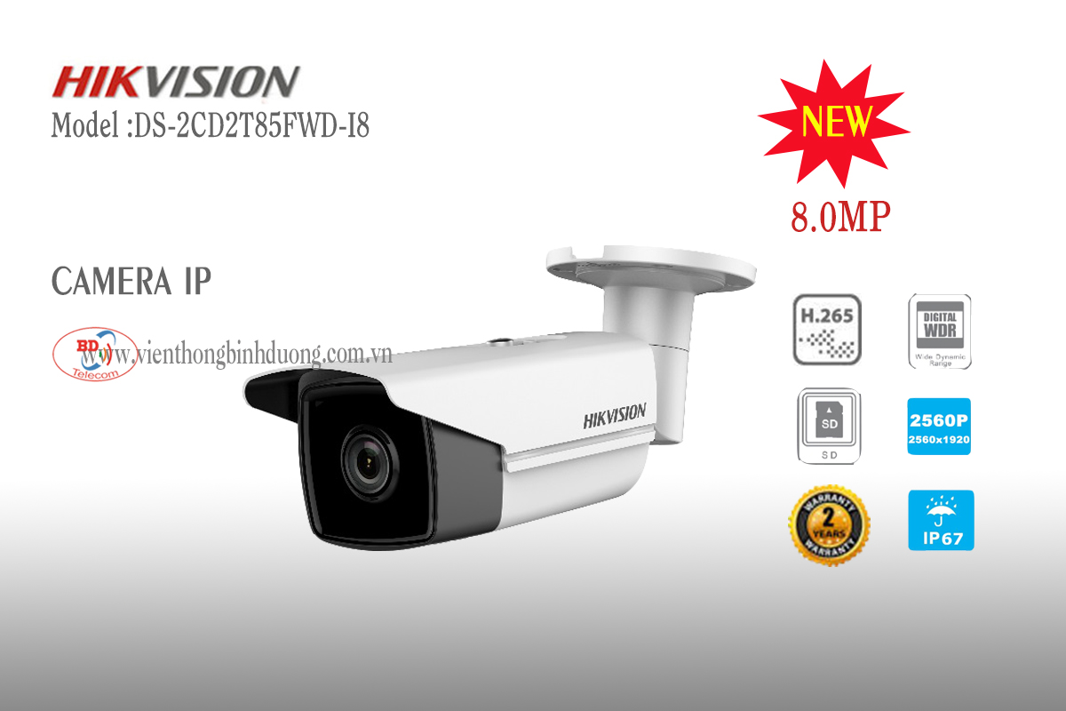 Camera IP Hikvision 8.0 Megapixel DS-2CD2T85FWD-I8